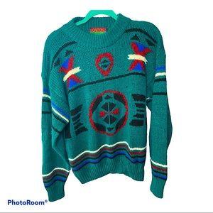 Oakton Limited vintage men's tribal print sweater